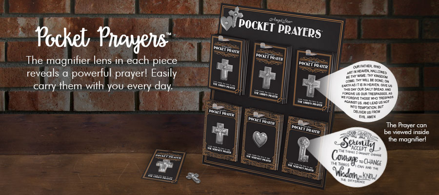 Pocket Prayers - The magnifier lens in each piece reveals a powerful prayer! Easily carry them with you every day.