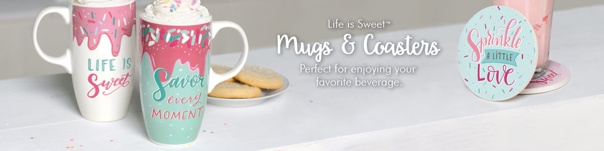 Life is Sweet Mugs & Coasters - Perfect for enjoying your favorite beverage.