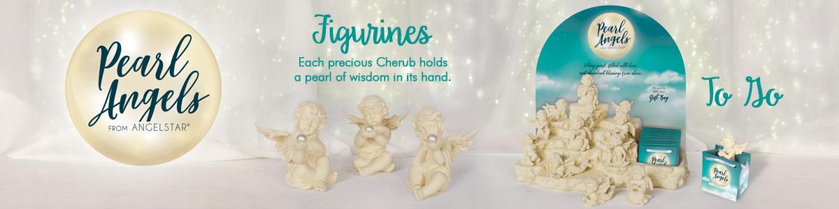 Pearl Angel Figurines - Each precious Cherub holds a pearl of wisdom in its hand.