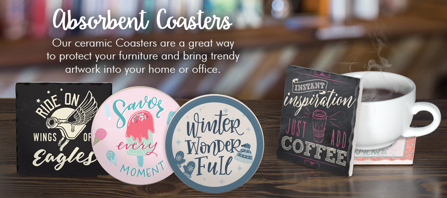 Absorbent Coasters - Our ceramic Coasters are a great way to protect your furniture and bring trendy artwork unto your home or office.