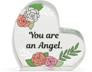 Heart of AngelStar Glass Plaque - Angel