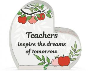 Heart of AngelStar Glass Plaque - Teacher