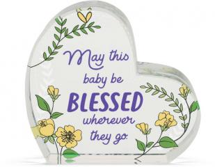 Heart of AngelStar Glass Plaque - New Baby