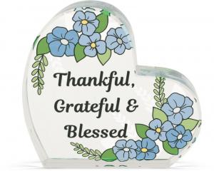 Heart of AngelStar Glass Plaque - Thankful