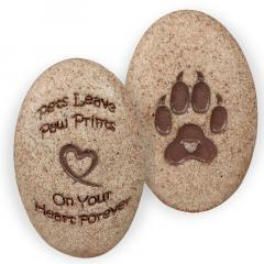 Dog Classic Paw Print Pocket Stone