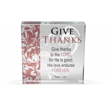 Give Thanks - Clearly Inspired Glass Decor Plaque