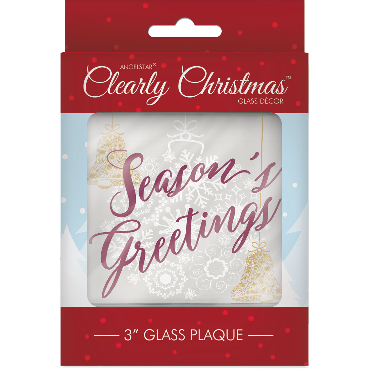 Clearly Christmas Glass Decor Plaque Seasons Greetings