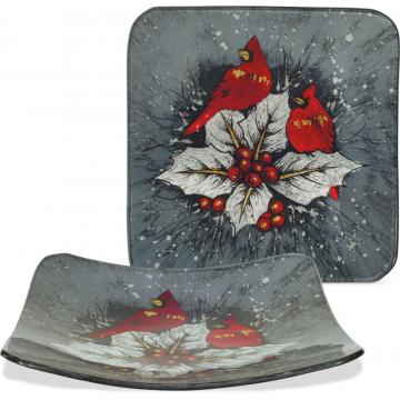 """Christmas Cardinal Plate - 8"""" Square"""