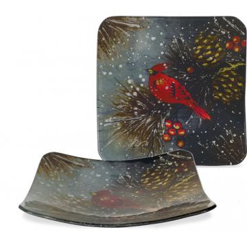 """Christmas Cardinal & Pinecone Plate - 8"""" Square"""