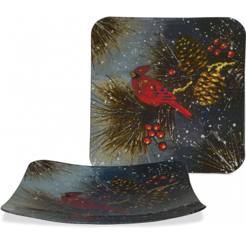 """Christmas Cardinal & Pinecone Plate - 12"""" Square"""