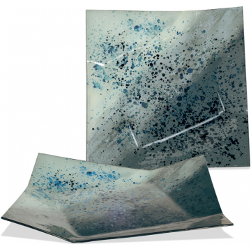 "Abstract Blue Plate - 16"" Square"