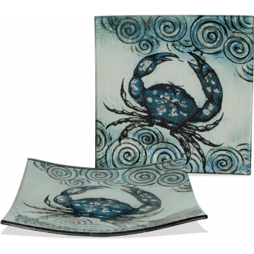 "Coastal Crab Plate - 7 1/2"" Square"