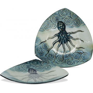 "Coastal Octopus Plate - 8"" Triangle"