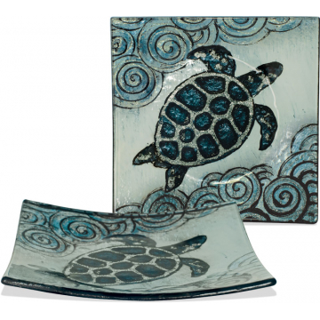 "Coastal Sea Turtle Plate - 5 1/2"" Square"