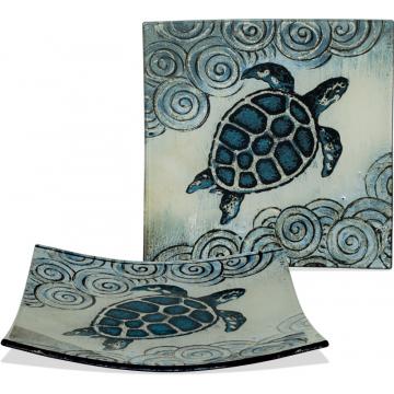 """Coastal Sea Turtle Plate - 7 1/2"""" Square"""