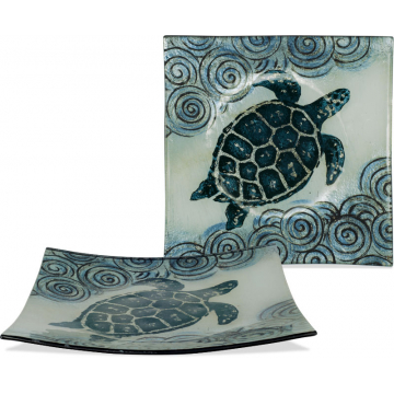 """Coastal Sea Turtle Plate - 9 1/2"""" Square"""