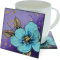 "Peony Flower 4"" Cozenza Glass Coaster Set"