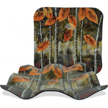 "Autumn Leaves - 14"" Square Ripple Plate"