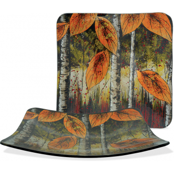 "Autumn Leaves - 9"" Square Plate"