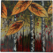 "Autumn Leaves 4"" Cozenza Glass Coaster Set"
