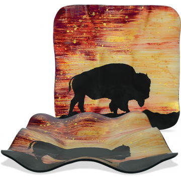 "Sunset Buffalo - 11.5"" Square Ripple Plate"