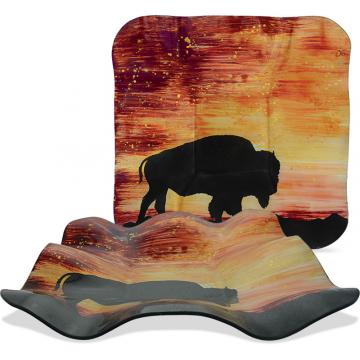 """Sunset Buffalo - 14"""" Square Ripple Plate"""