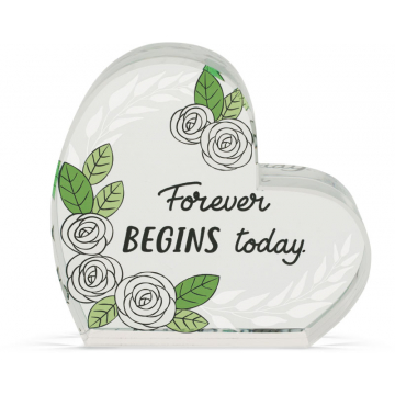 Heart of AngelStar Glass Plaque - Wedding
