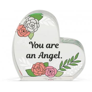 Heart of AngelStar Glass Plaque - Angel