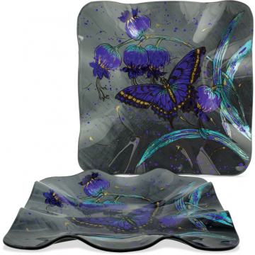 """Midnight Butterfly 10"""" Square Plate"""